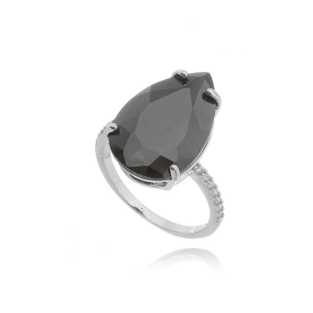 Semi joias luxuosas anel preto