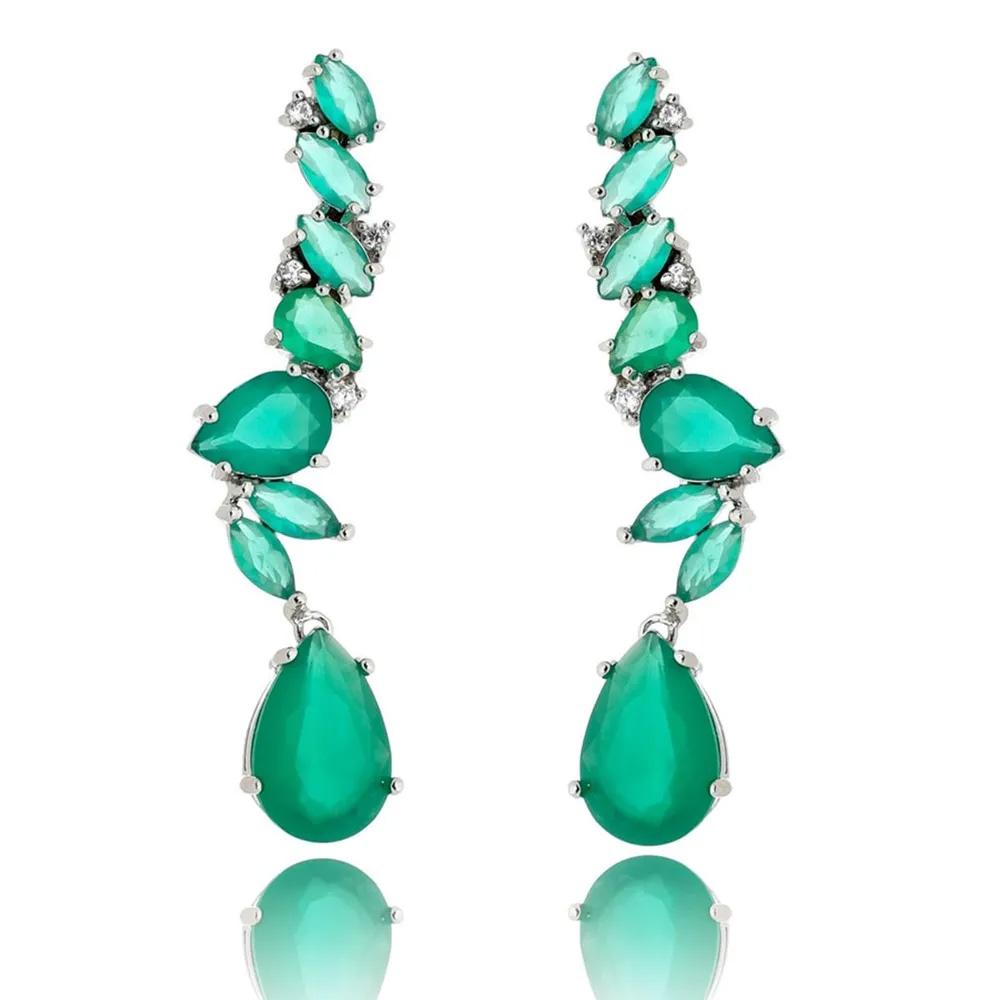 Semi joias luxuosas brinco esmeralda