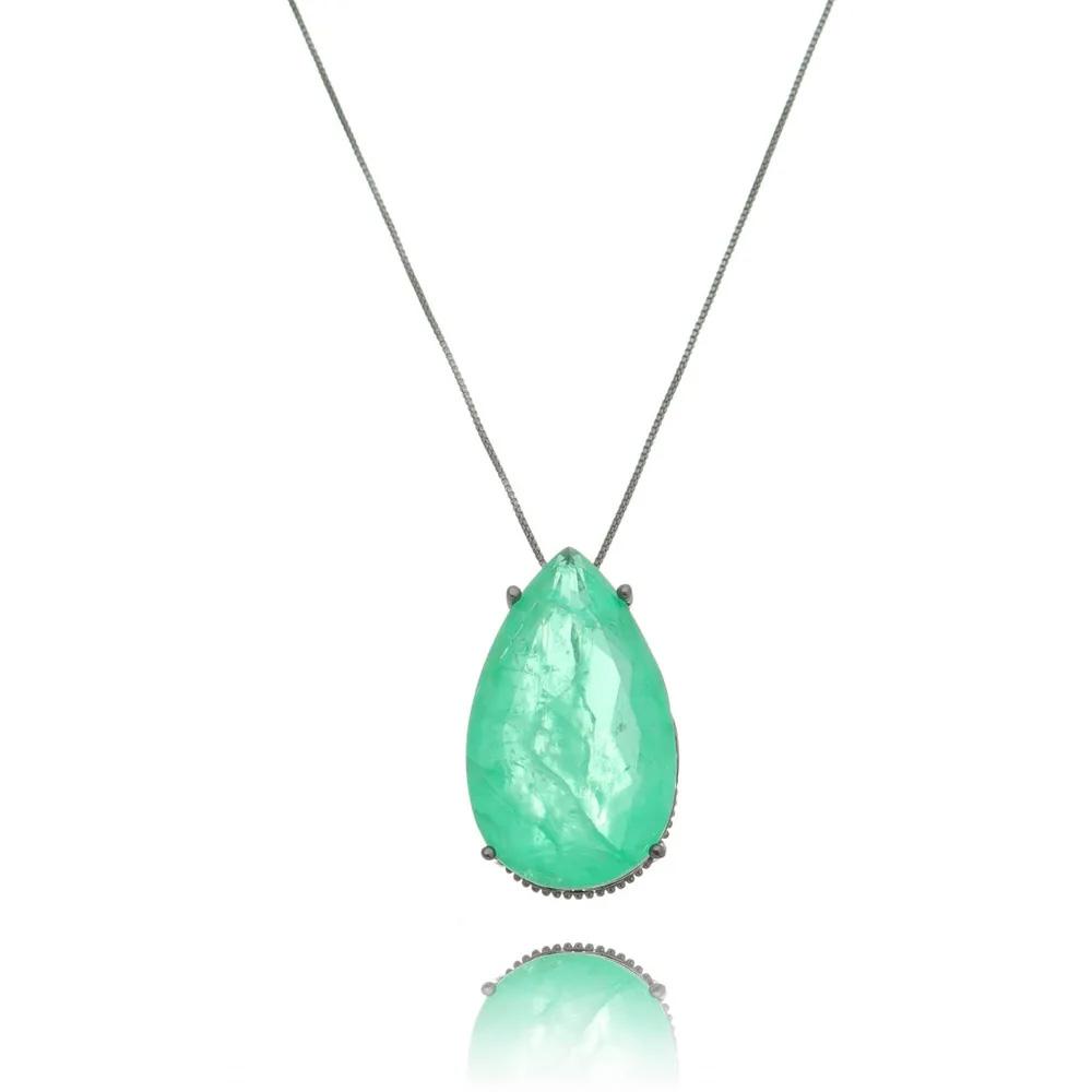 Semi joias luxuosas colar gota esmeralda