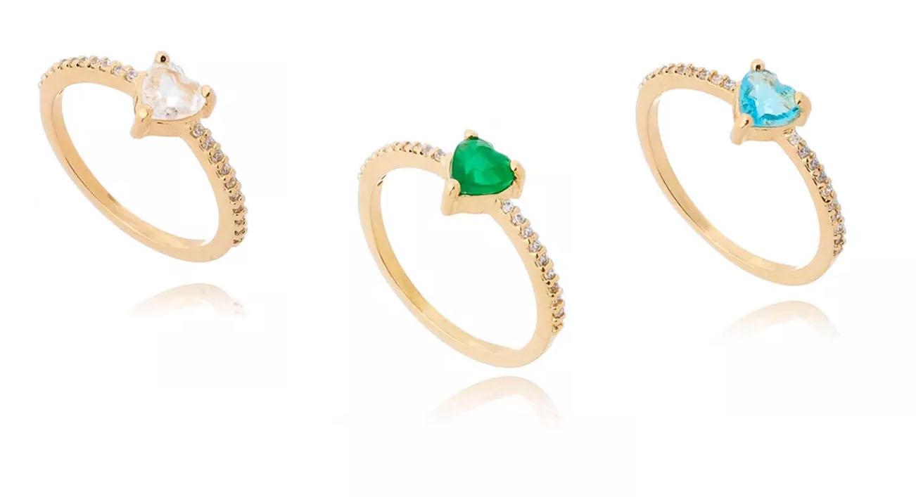 aneis de coração ouro