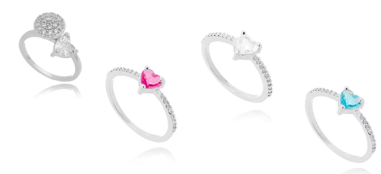 aneis de coração prata