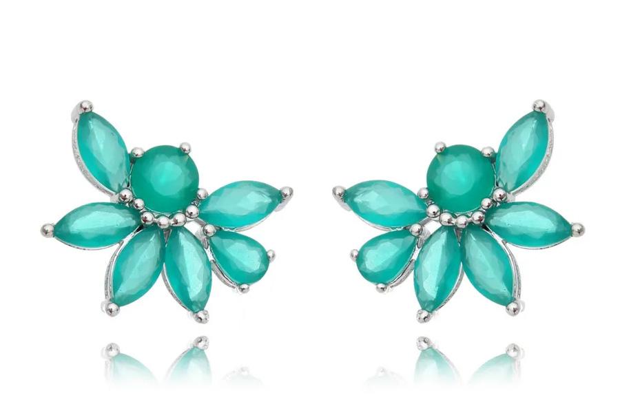 brinco ear cuff esmeralda flor