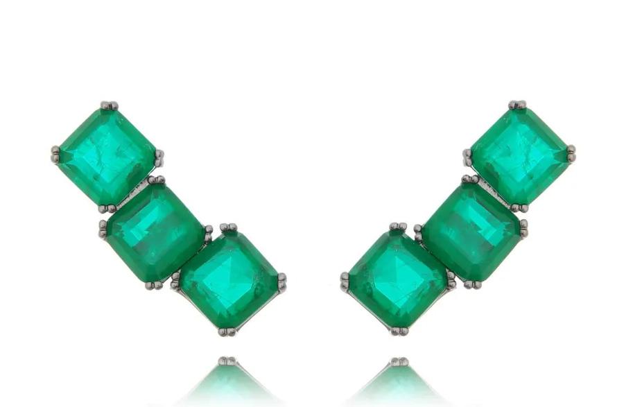 brinco ear cuff esmeralda geometrico
