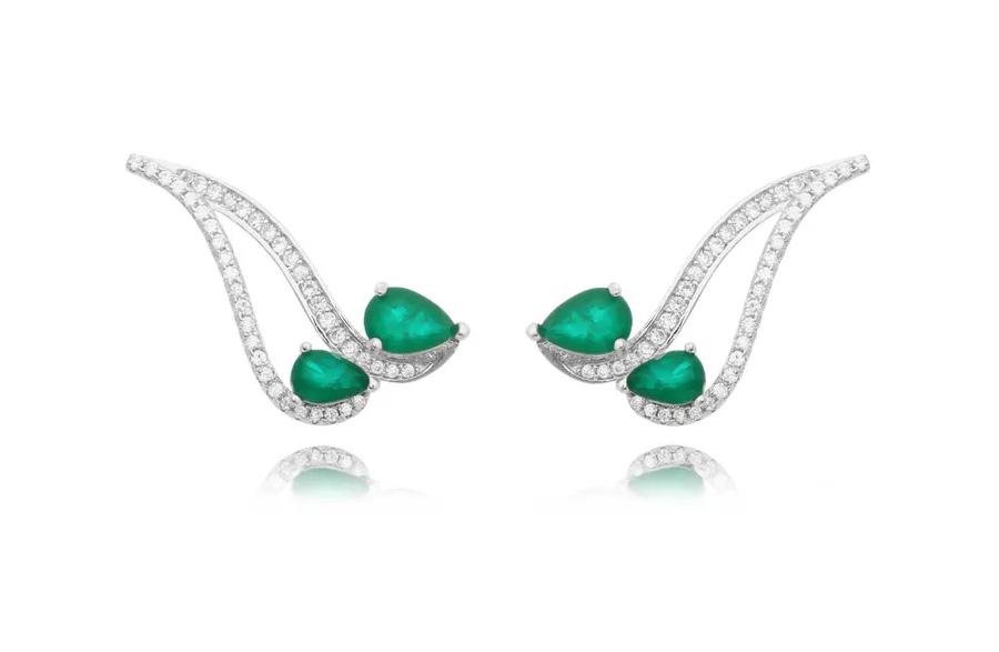 brinco ear cuff esmeralda luxo