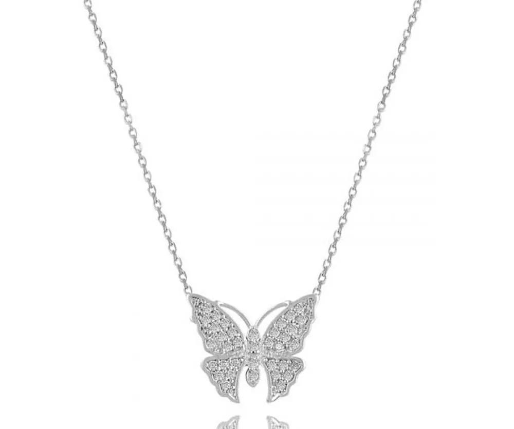 colar de prata borboleta