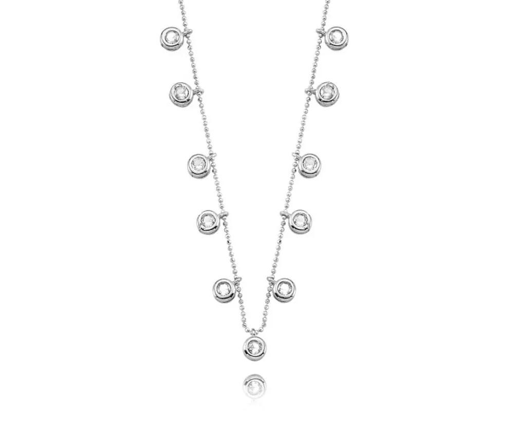 colar de prata luxo ponto de luz