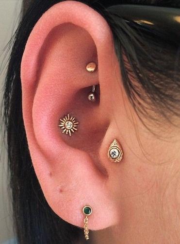 conch piercing boho