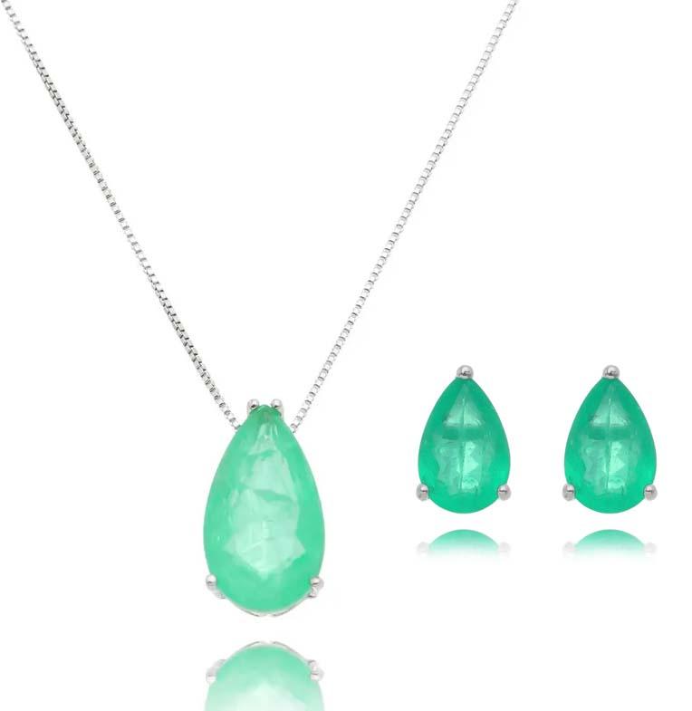 semijoias ou joias colar esmeralda