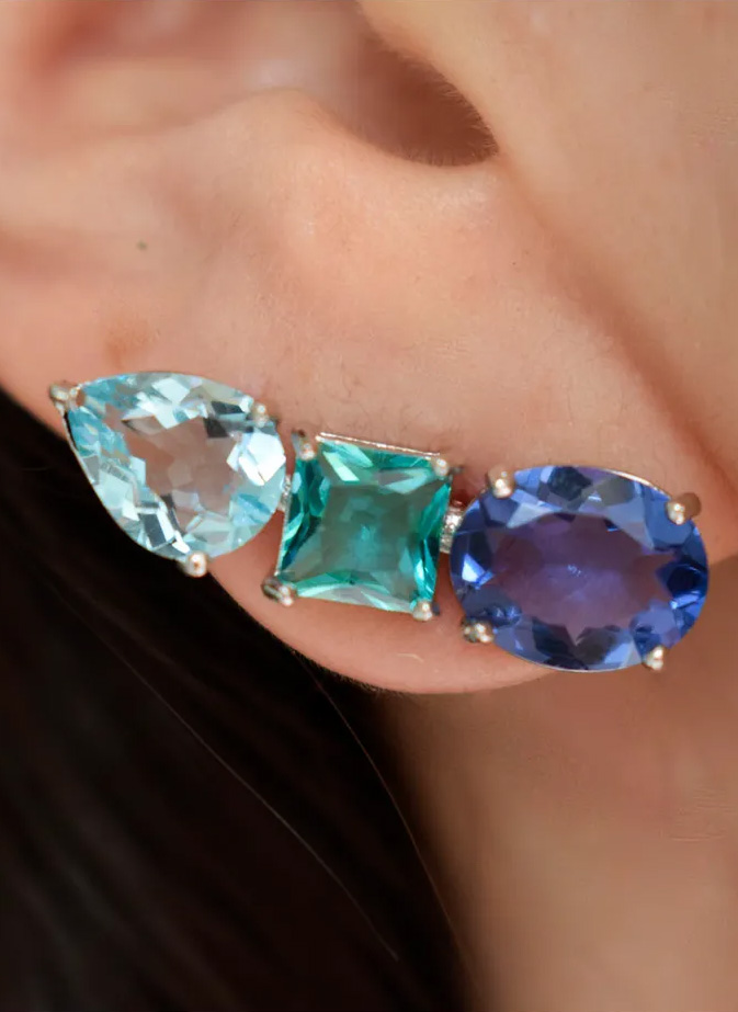 brinco ear cuff colorido azul
