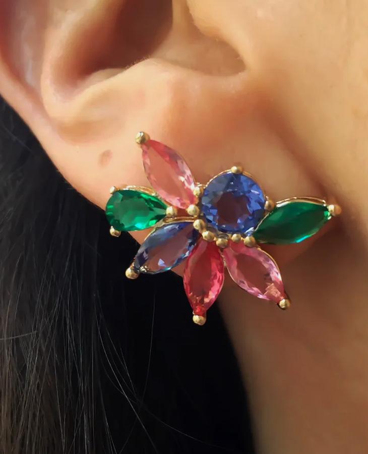 brinco ear cuff colorido flor