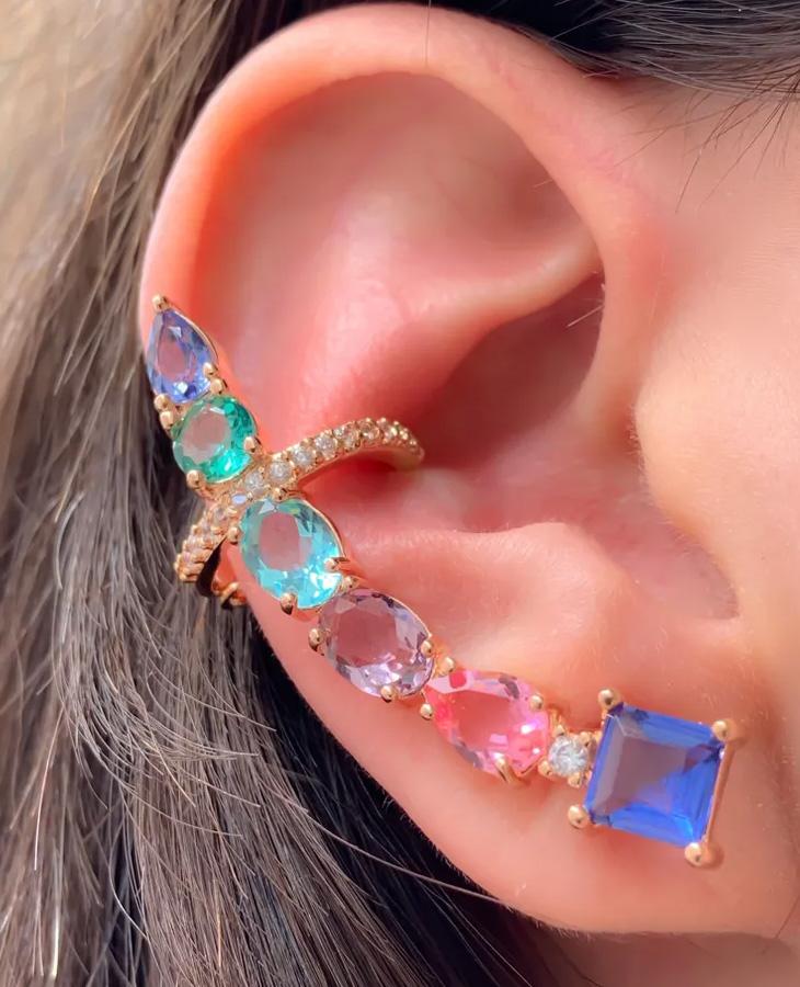 brinco ear cuff colorido maxi rose