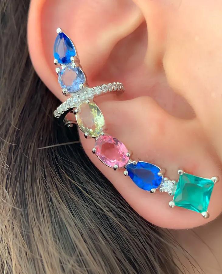 brinco ear cuff colorido maxi
