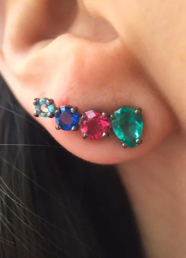 brincos coloridos da moda ear cuff