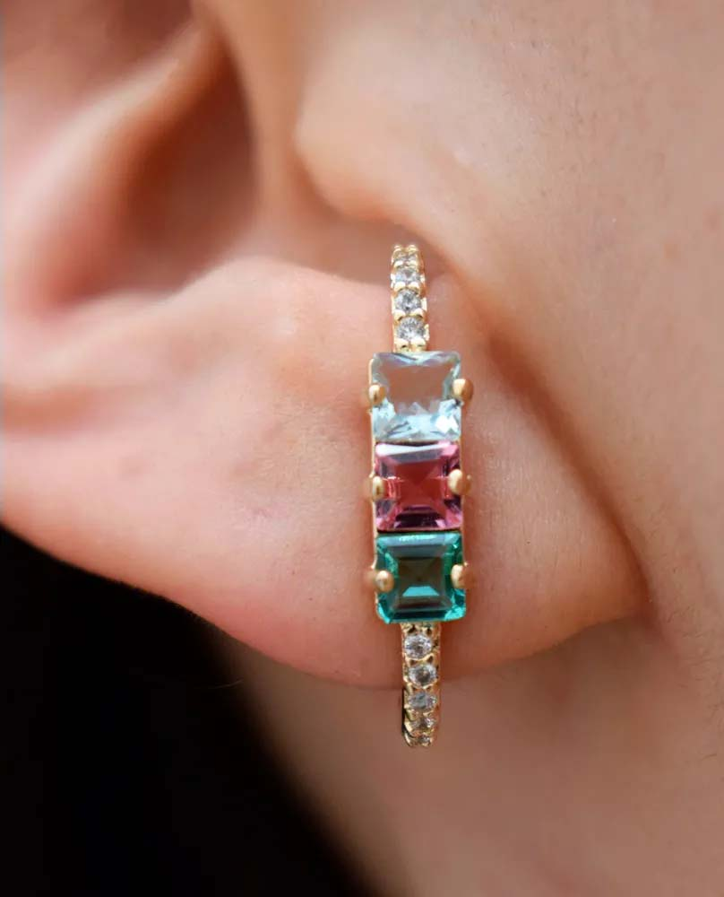 brincos coloridos da moda ear hook