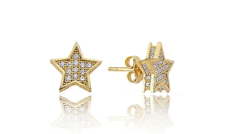 brincos pequenos de ouro estrela