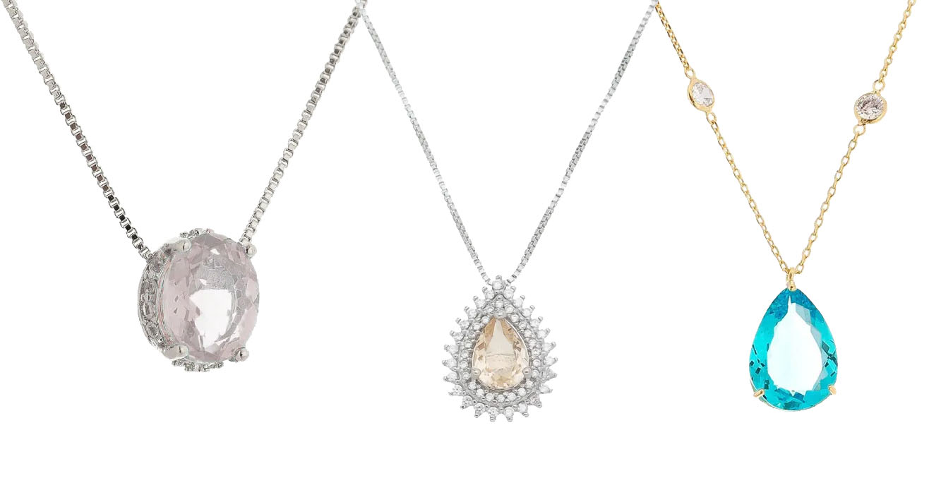 colares de pedra cristal