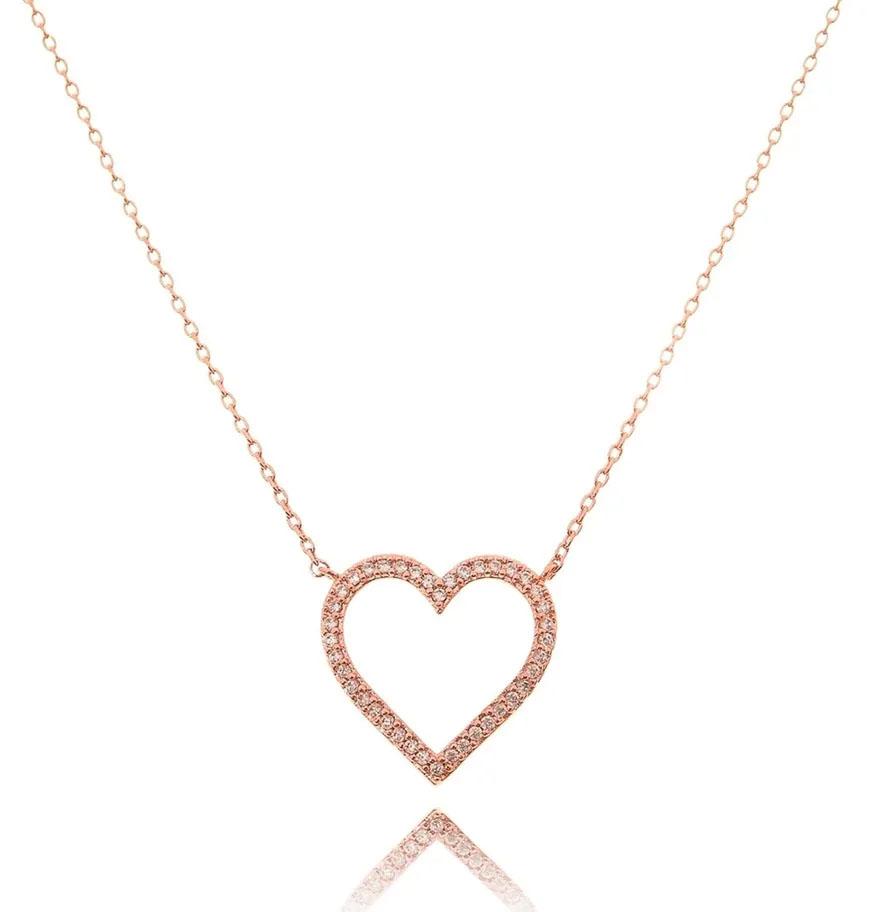colares em ouro rose coração