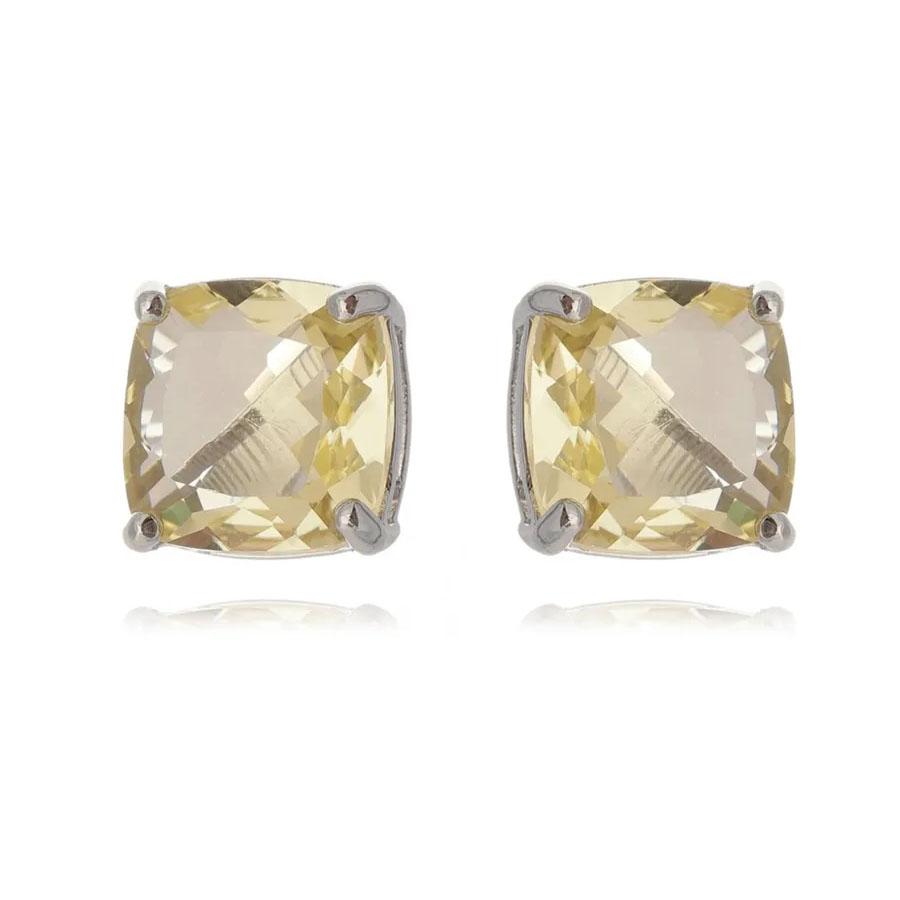 joias com pedras amarelas brinco quadradinho