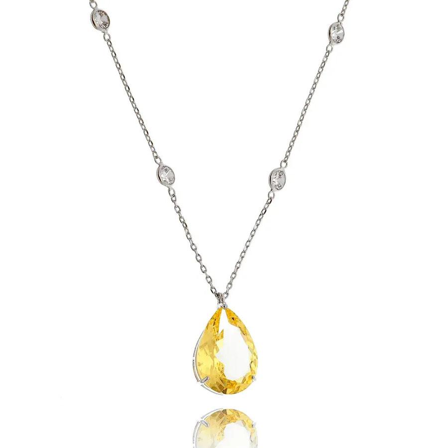 joias com pedras amarelas colar gotinha