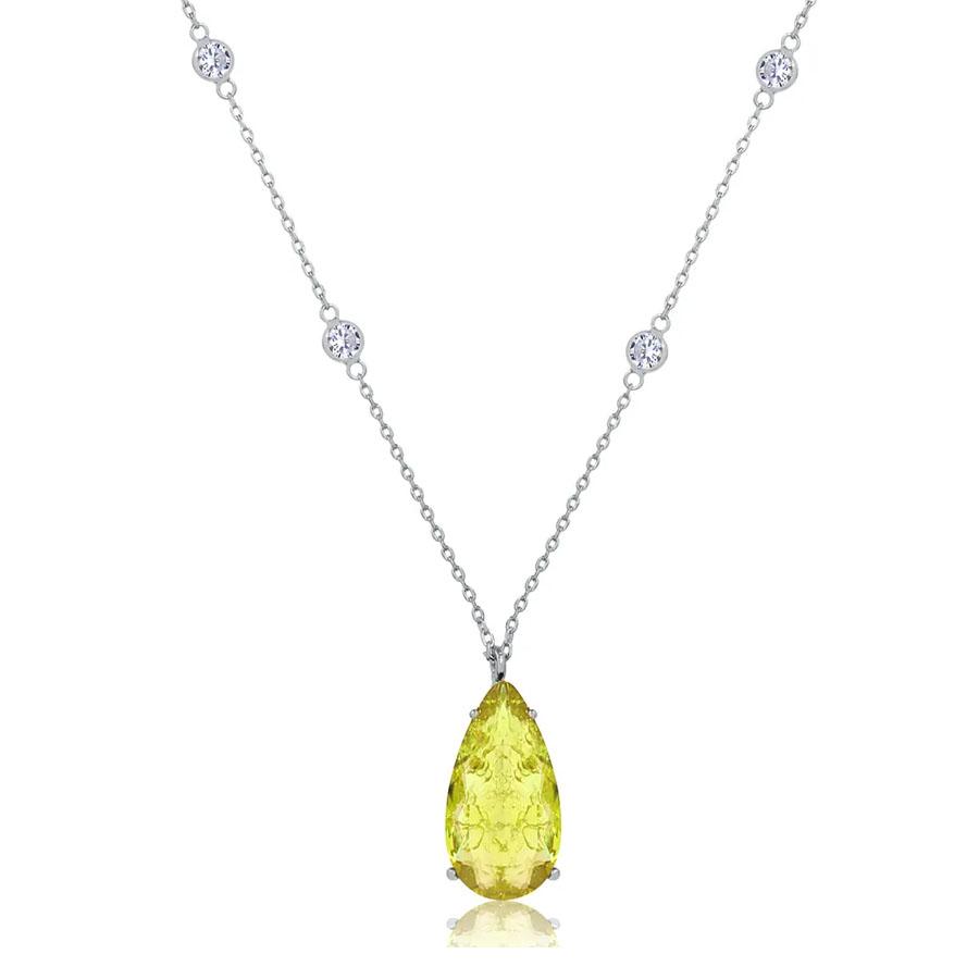 joias com pedras amarelas gota alongada