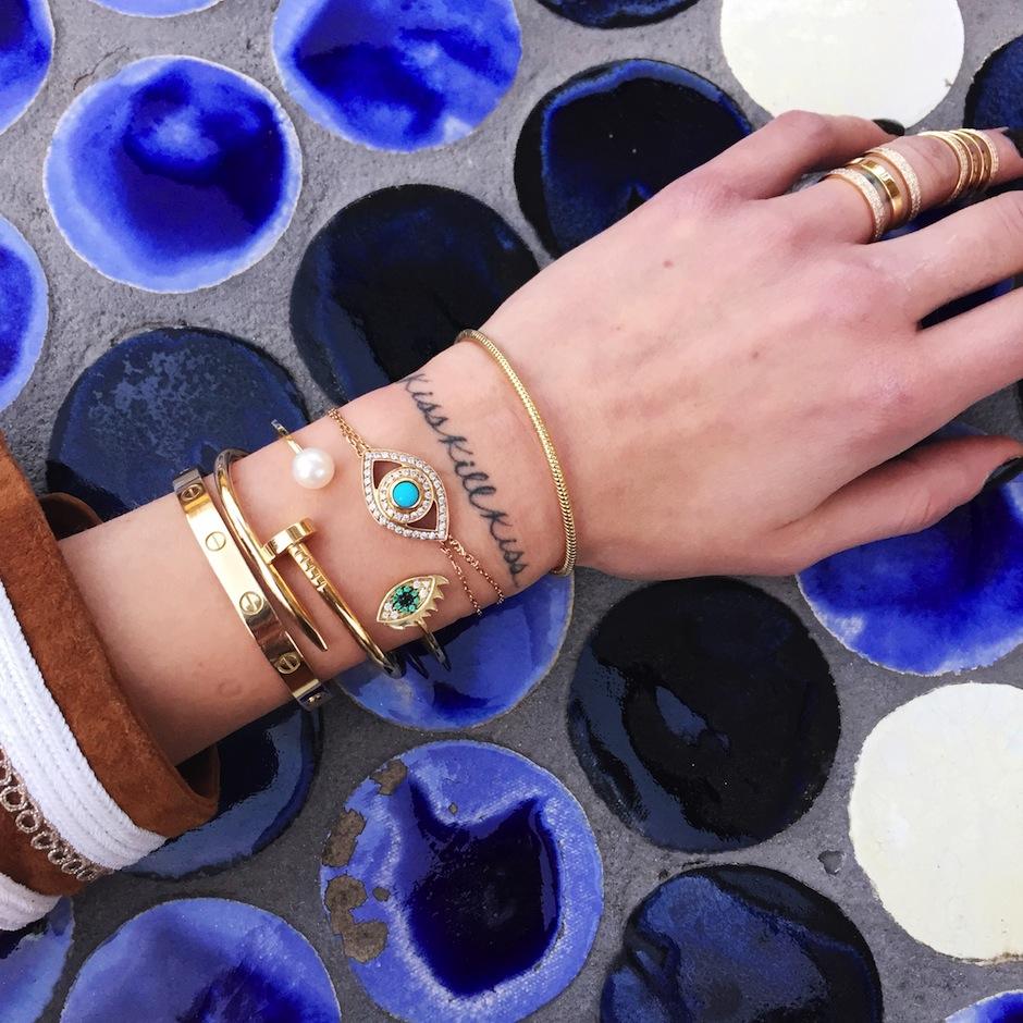 pulseiras de olho grego look