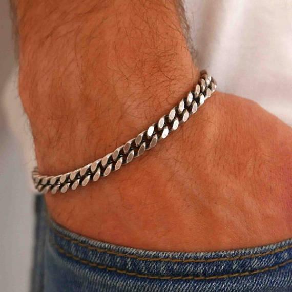 pulseira para homens prata