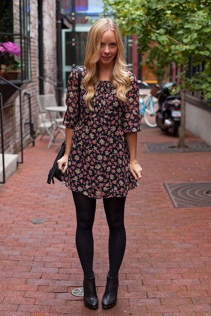 Looks com meia calça flores