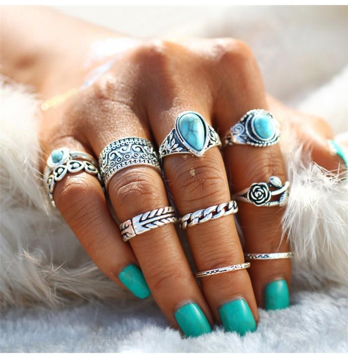 fotos de anel de falange boho prata