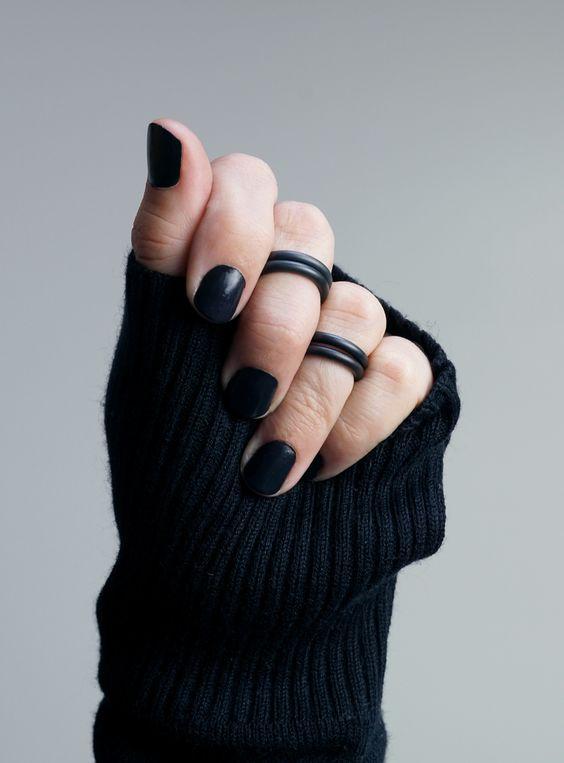 fotos de anel de falange preto