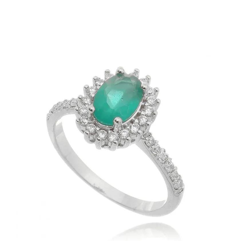 anel esmeralda leitosa
