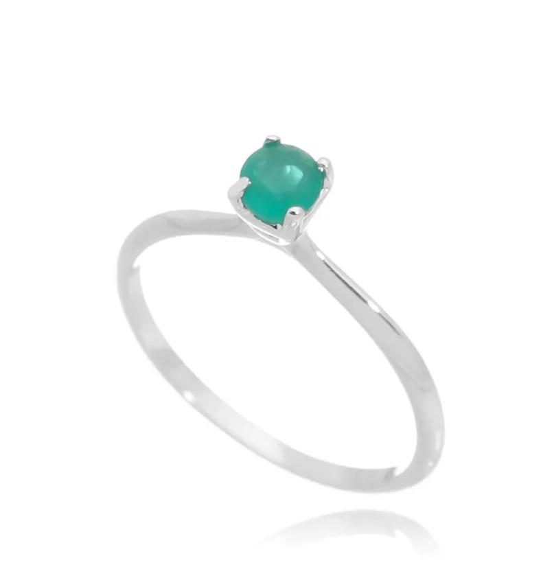 anel solitario esmeralda