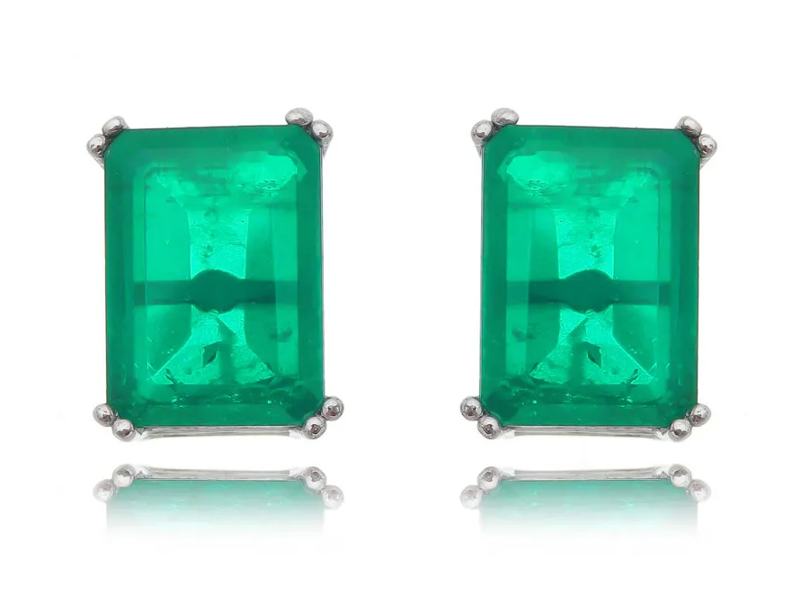brincos retangular esmeralda