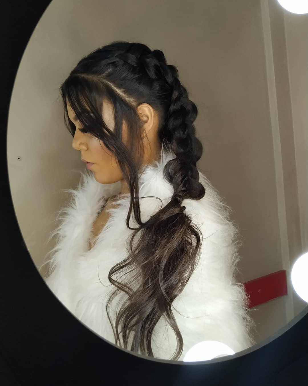cabelo preso com trança