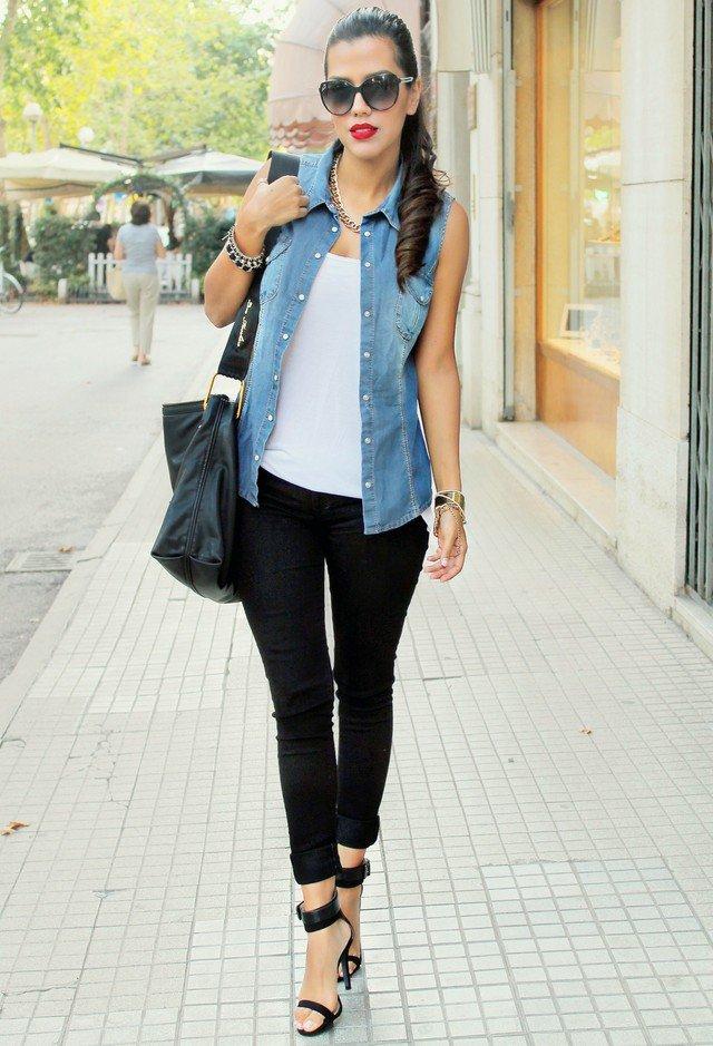 colete jeans com look sofisticado