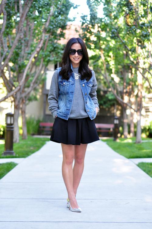 colete jeans com saia