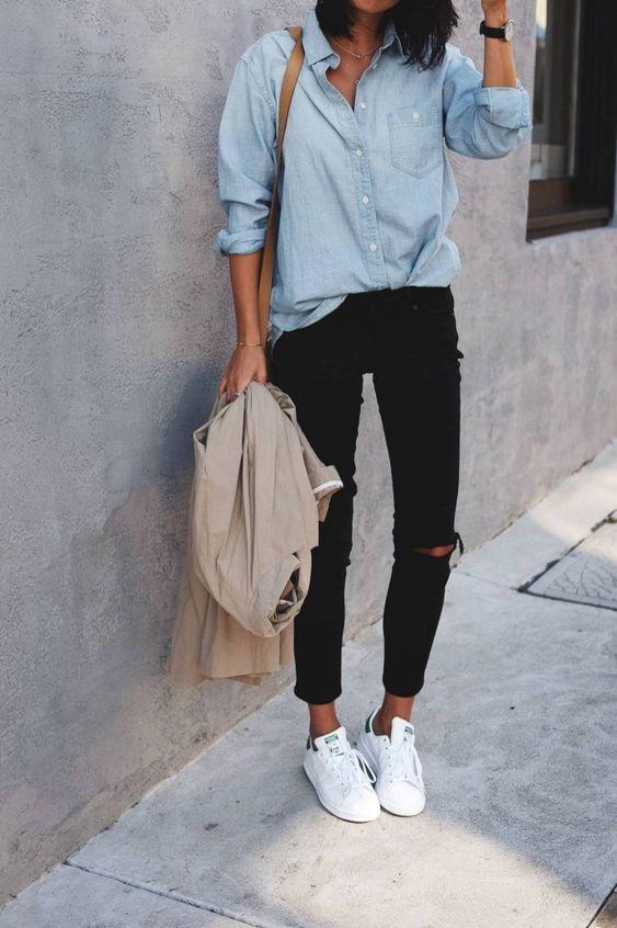 looks com tenis branco jeans calça preta
