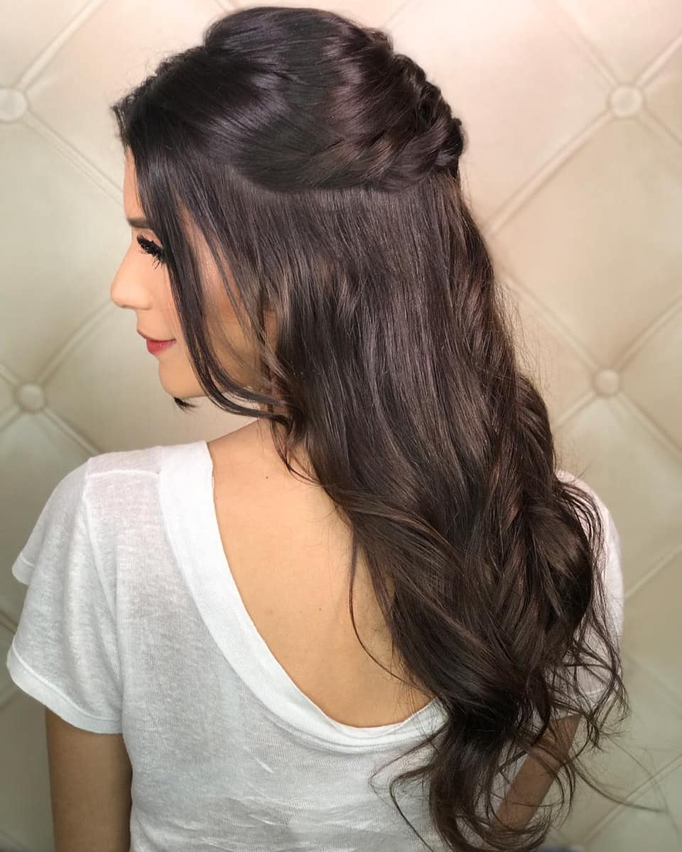 penteados de festa cabelo liso