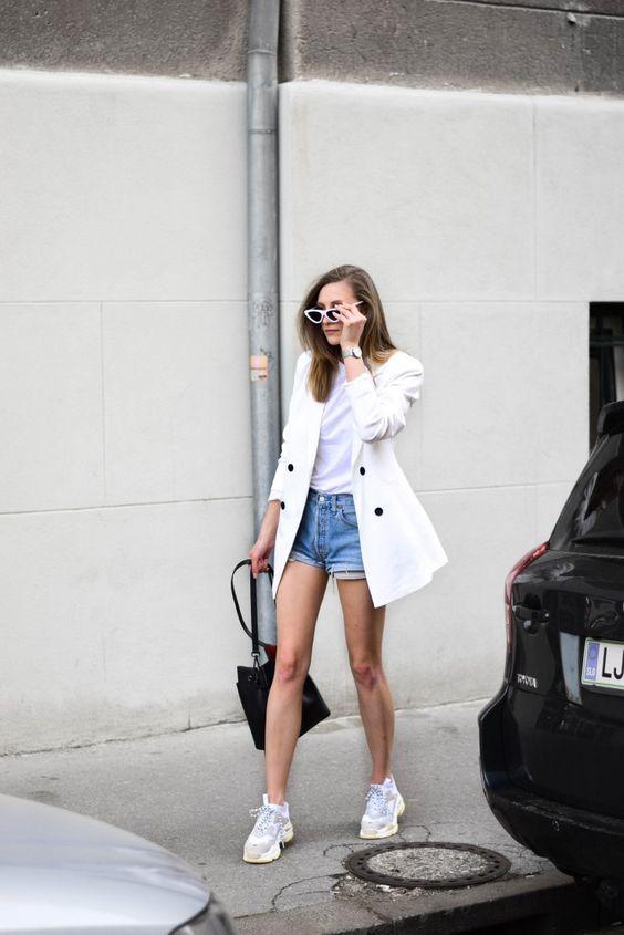 tenis branco shorts