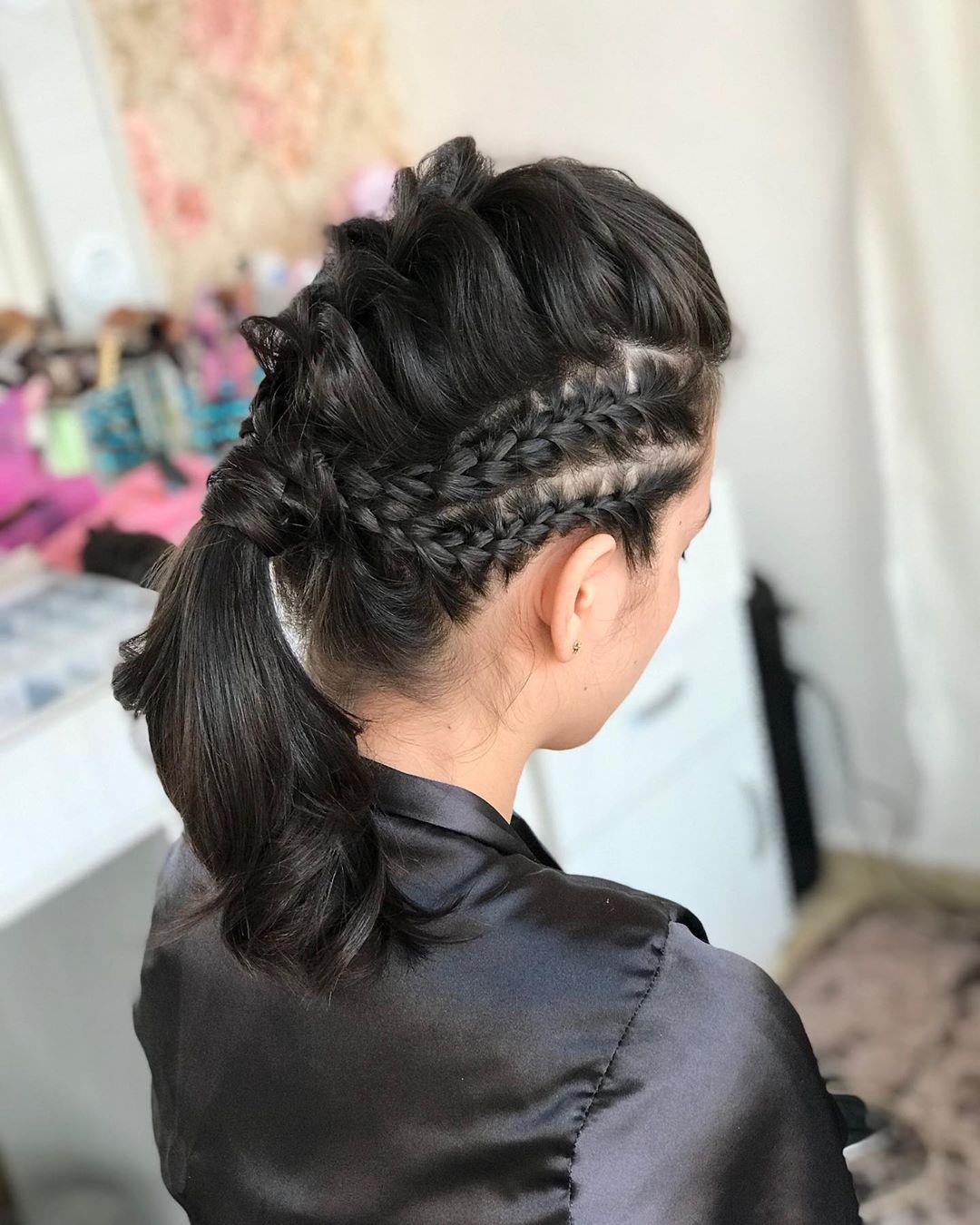 trança com rabo penteado