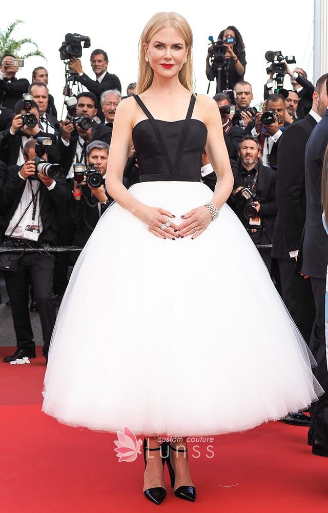 vestido de festa preto e branco