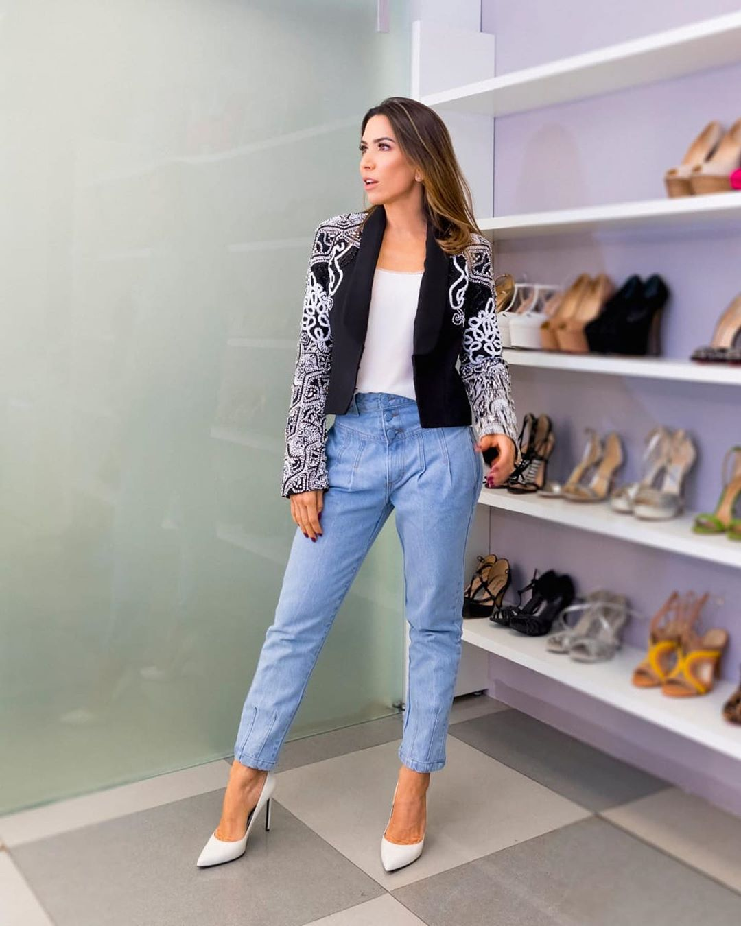 look patricia abravanel calça jeans