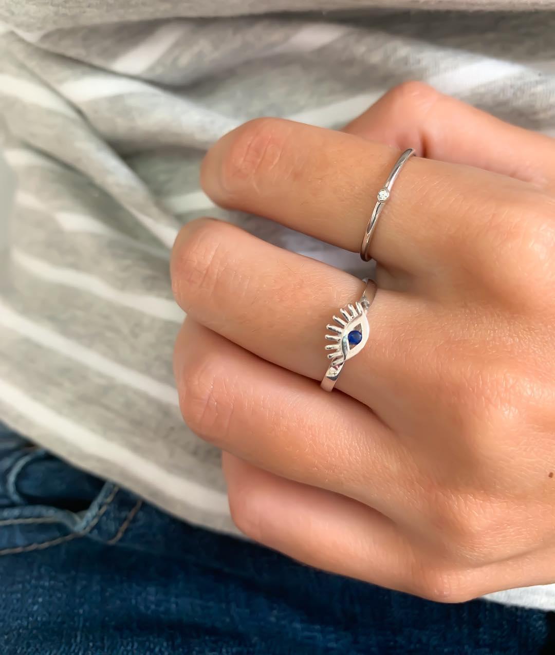 anel de olho grego prata