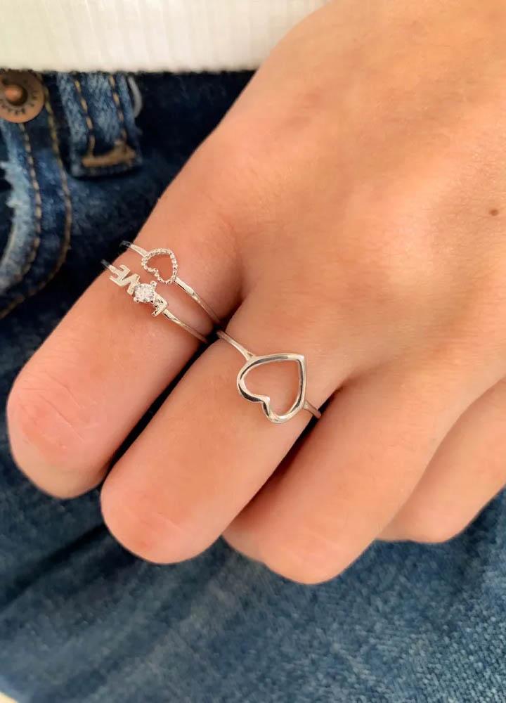 anel de prata coraçao vazado