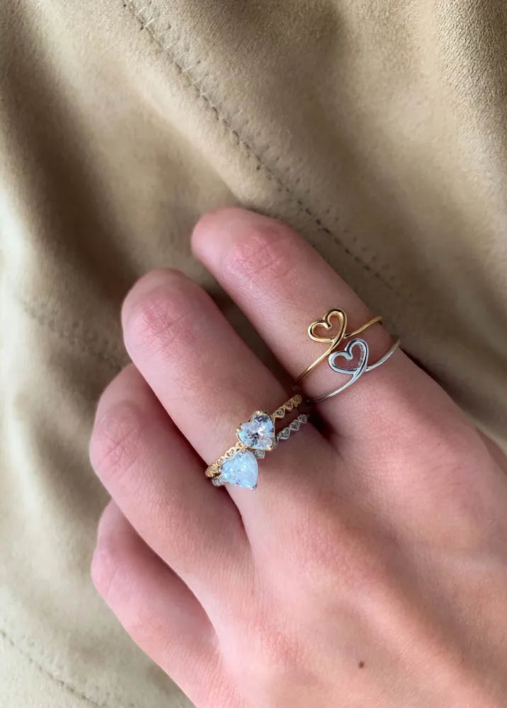 anel solitario de coraçao