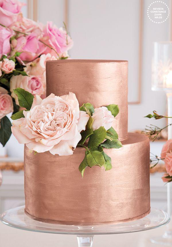 bolo ouro rose