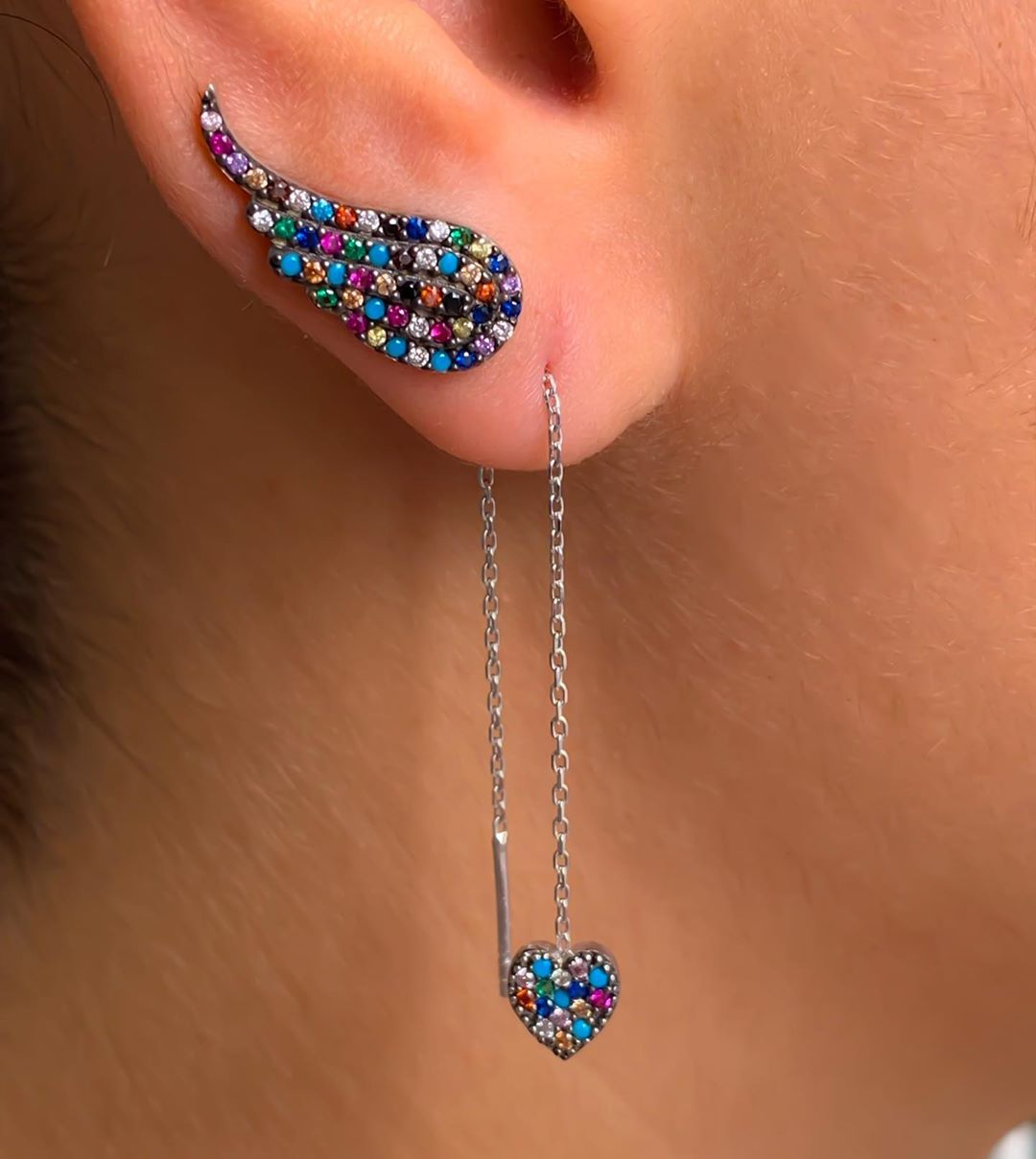 brinco de corrente com ear cuff
