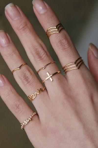 anel fino empilhado
