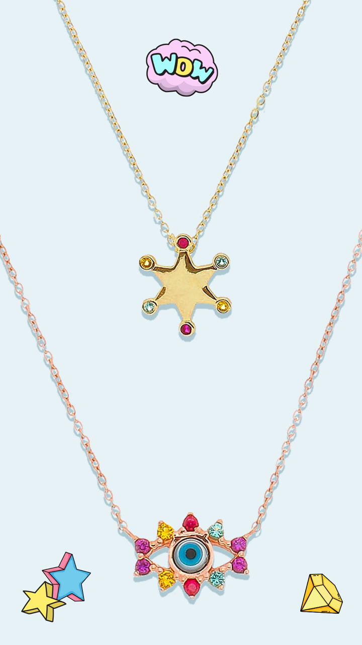 colares banhados a ouro de estrela e olho grego com espinélios coloridos acessórios de prata 925 waufen