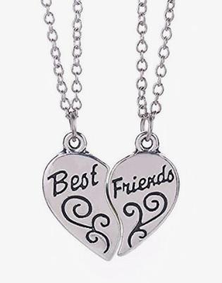 Colar da amizade de coração com escrito best friends